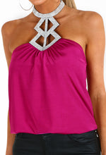 Bittersweet Honey Fuchsia Pink Diamante Halterneck Top