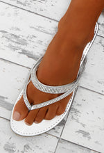 Black Diamond Silver Diamante Embellished Flip Flops