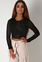 Moesha Black Sheer Flock Crop Top