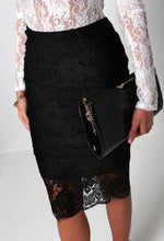 Lowri Black Lace Overlay Midi Skirt