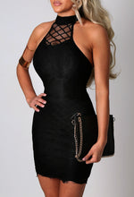 Dannielle Black Lace Halterneck Mini Dress