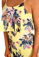Blazing Heat Yellow Multi Floral Frill Top Maxi Dress