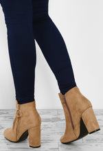 Block Him Beige Faux Suede Block Heel Ankle Boots