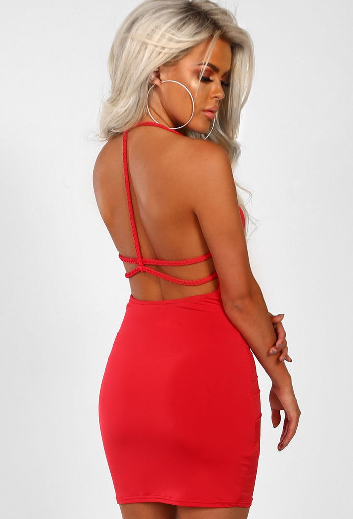 c49637cfcf3a Blonde Bombshell Red Slinky Plaited Mini Dress – Pink Boutique UK