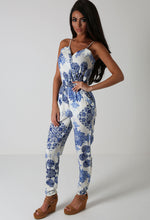 Alyssa Blue And White Floral Print Jumpsuit