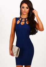 Blue Crush Navy Cage Top Bandage Mini Dress