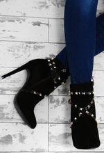 Booty Camp Black Faux Suede Studded Ankle Boots