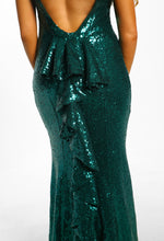 Born a Star Green Sequin Frill Back Fishtail Maxi Dress