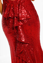 Red Sequin Fishtail Maxi Dress - Detail