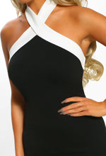 Monochrome Halterneck Bodycon Midi Dress - Detail