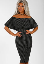 Boss Vibes Black Pinstripe Bardot Bodycon Midi Dress