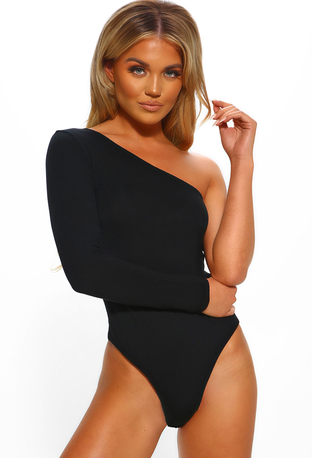 c5f96b33acf Bossing Basics Black One Shoulder Jersey Bodysuit – Pink Boutique UK