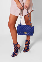 Bramble Blue Quilted Chain Strap Bag