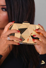 Braxton Gold D Pyramid Style Clutch Bag