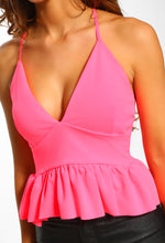 Brighter Than Bright Neon Pink Peplum Cropped Cami Top