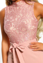 Bronx Beauty Blush Pink Lace Tie Waist Wide Leg Jumpsuit