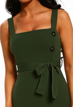 Khaki Button Detail Side Split Midi Dress - Detail