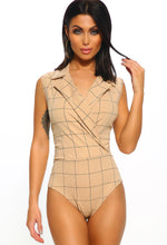 Stone Checked Sleeveless Tailored Bodysuit
