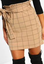 Business Feeling Stone Checked High Waisted Mini Skirt