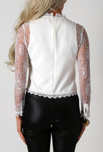 Cabella White Sheer Lace Sleeve Crop Top