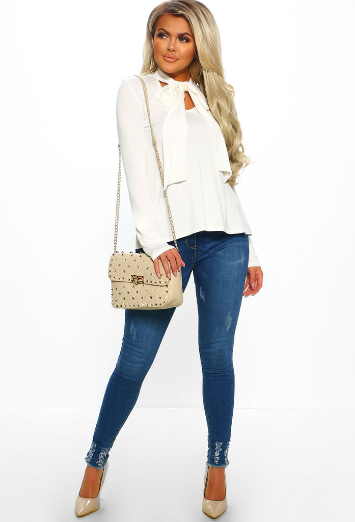Café Chic White Pussy Bow Long Sleeve Top by Pink Boutique