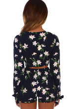 California Dreamin' Navy Floral Tie Front Long Sleeve Crop Top