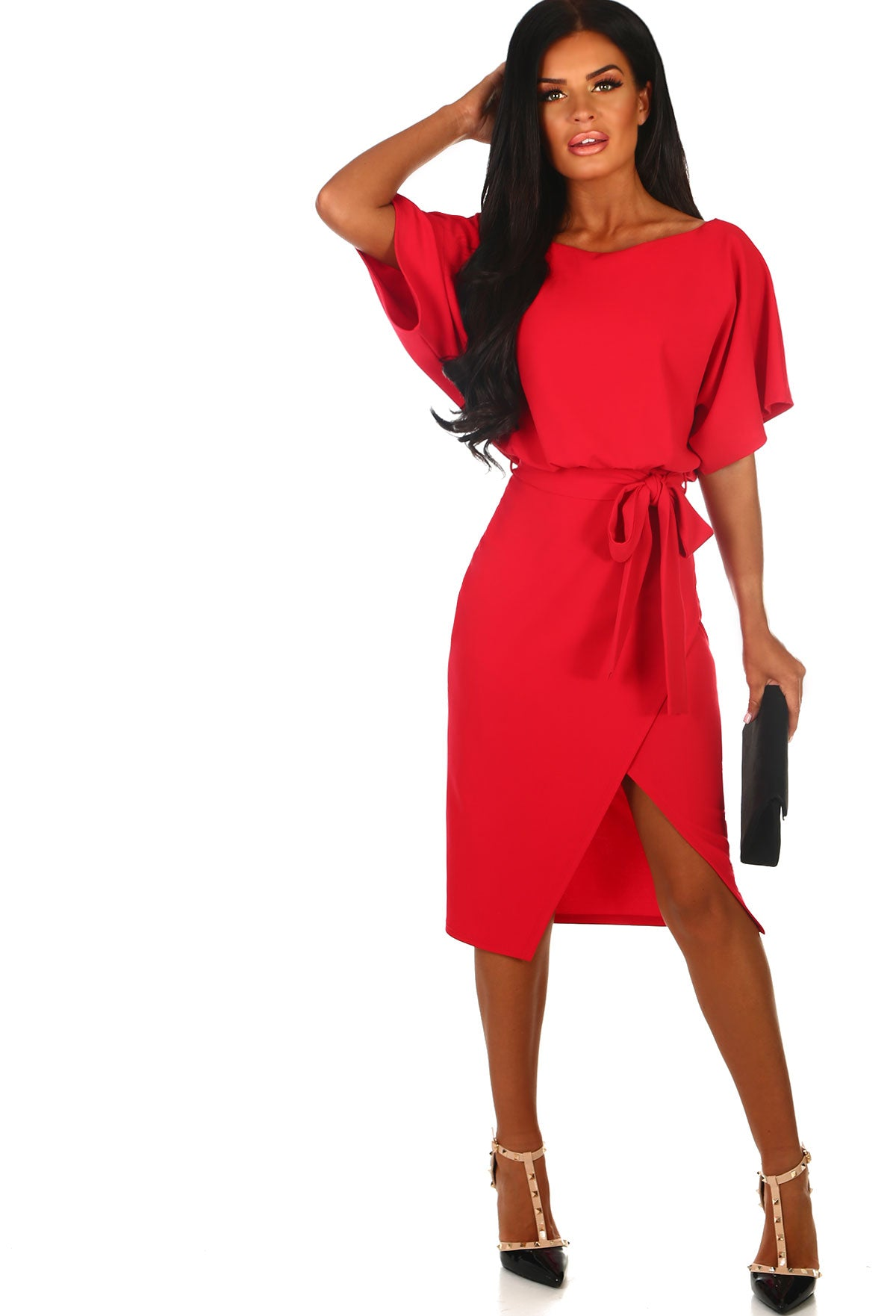 d92a2219ac8 Came Here For Love Red Belted Wrap Front Midi Dress – Pink Boutique UK