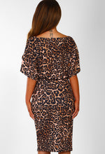 Came Here To Party Brown Animal Print Belted Midi Dress