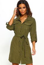 Camouflage Queen Khaki Shirt Dress