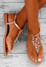 Can't Get Enough Rose Gold Embellished Flat Sandals