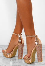 Can You Keep Up Rose Gold Patent Diamante Platform Heels