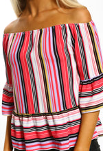 Candy Delight Pink Multi Stripe Bardot Top
