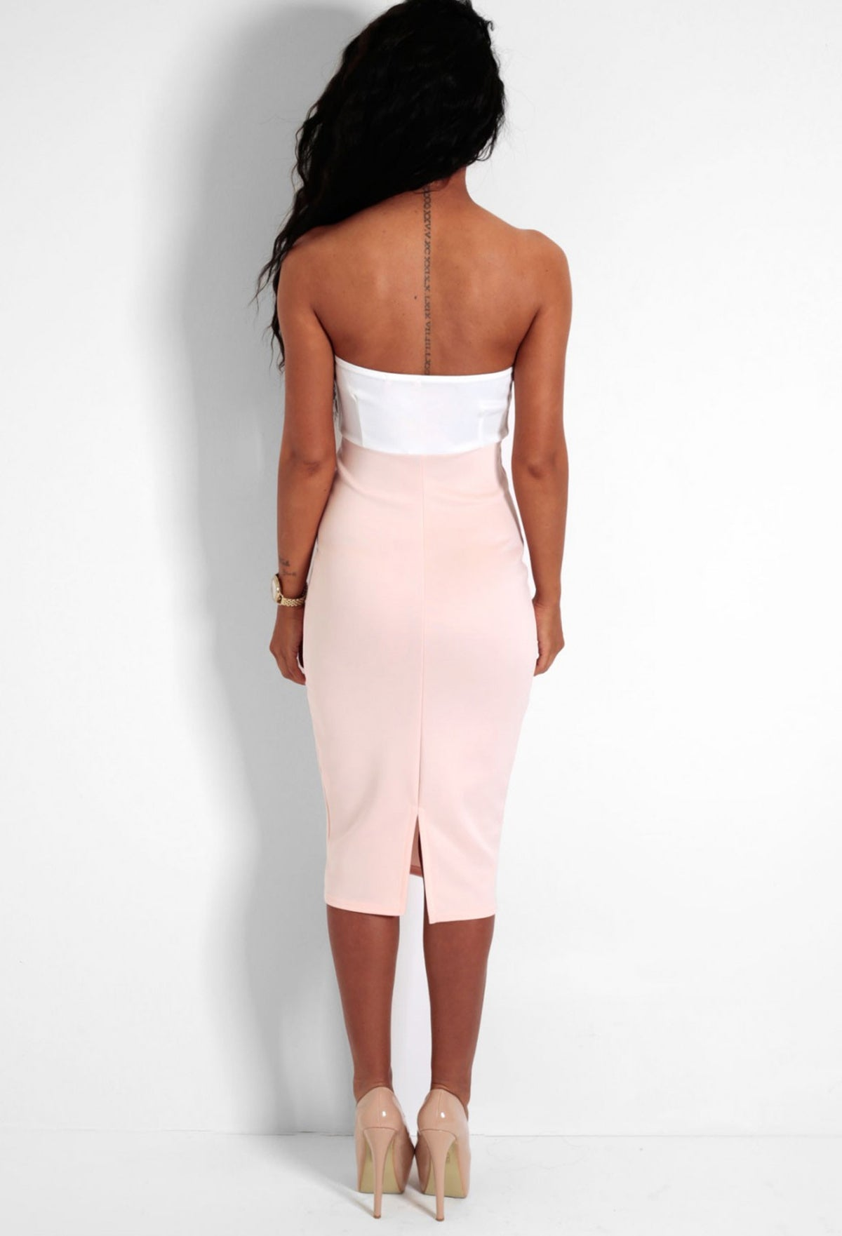 Candy Dream Cream   Nude Contrast Plunge Strapless Dress – Pink ... 037728bc9