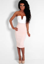 Candy Dream Cream and Nude Contrast Plunge Strapless Dress