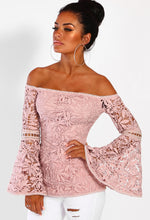 Candy Queen Pink Crochet Flare Sleeve Bardot Top