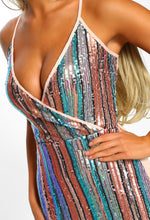 Candyland Multi Sequin Stripe Wrap Front Bodycon Mini Dress