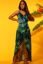 Caribbean Dream Green Leaf Print Wrap Maxi Dress