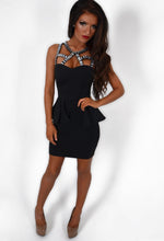 Casablanca Crystal Strap Padded Peplum Dress
