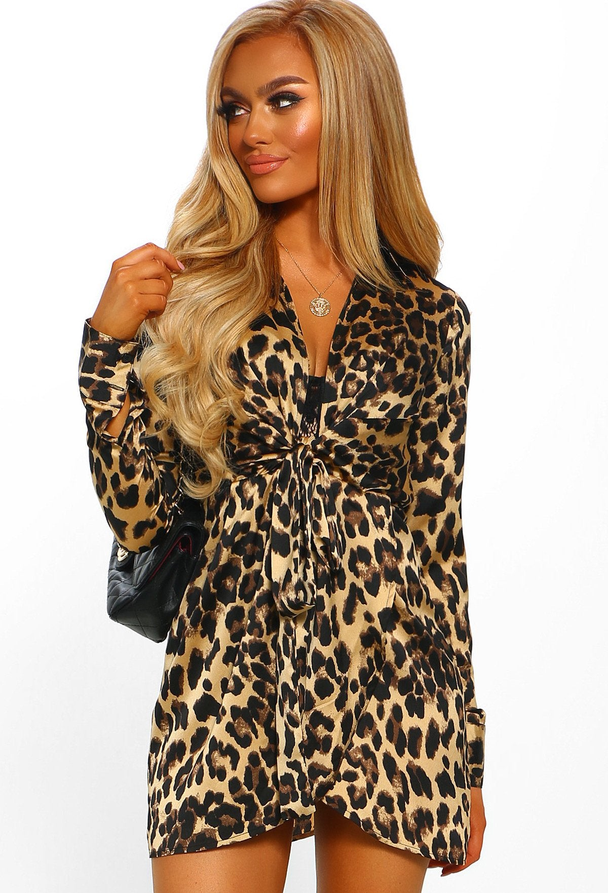 bee000ac98663 Causing Trouble Multi Leopard Print Tie Front Shirt Dress – Pink ...
