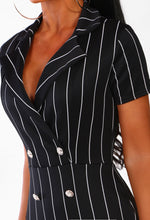 Black Pinstripe Blazer Mini Dress - Detail