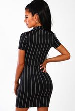Black Pinstripe Blazer Mini Dress - Back
