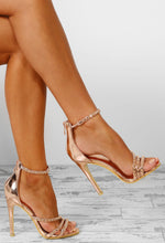 Champagne Chic Rose Gold Embellished Strappy Stiletto Heels
