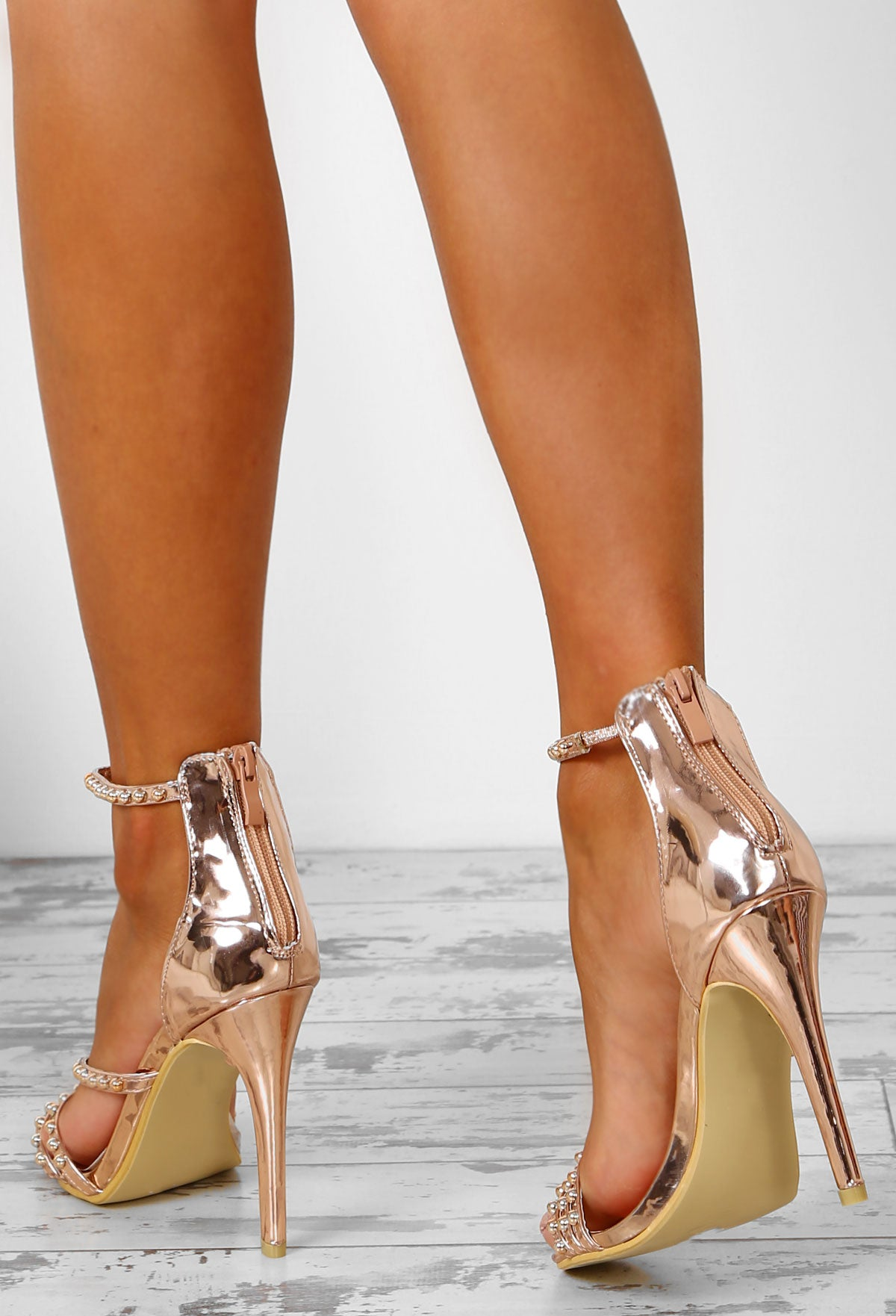 e93593770dde Champagne Chic Rose Gold Embellished Strappy Stiletto Heels – Pink ...