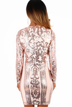 Champagne On Ice Rose Gold Sequin Long Sleeve Mini Dress
