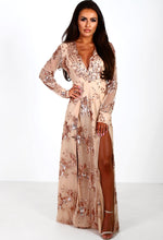 Rose Gold Sequin Long Sleeve Maxi Dress