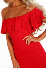 Charmed Red Lace Bardot Frill Hem Midi Dress