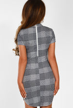 Checked Out Monochrome Checked Bodycon Mini Dress