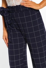 Checking It Out Navy Checked Wide Leg Trousers