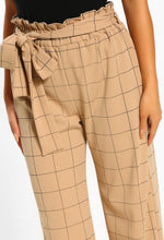 Checking It Out Stone Checked Wide Leg Trousers