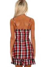 Checks For Days Red and Black Check Frill Hem Mini Dress
